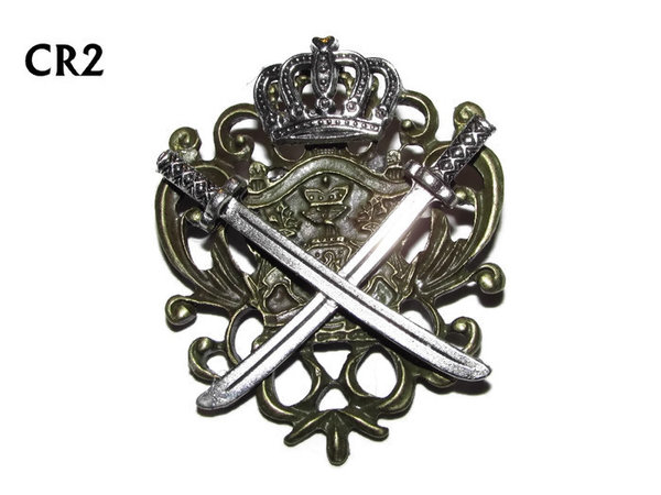 Badge / Brooch, CR02, Crown Swords, Crest - bronze. (42x55mm)