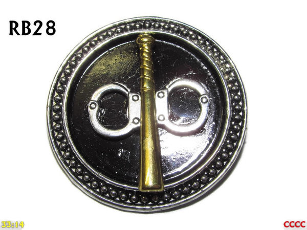 Badge / Brooch, RB28, Silver circular setting with Truncheon and Handcuffs (39mm dia.)