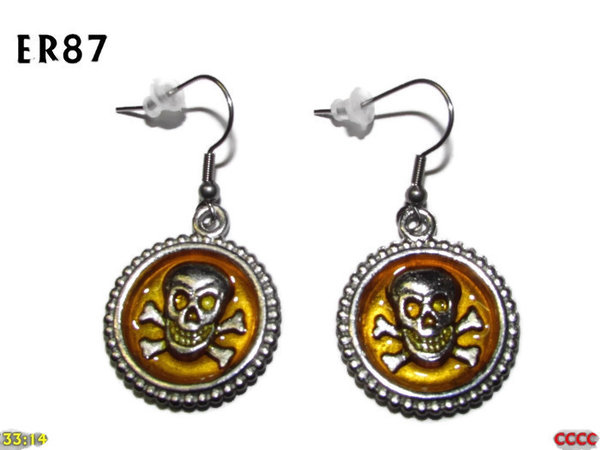 Earrings, Skull & Crossbones Yellow ER87