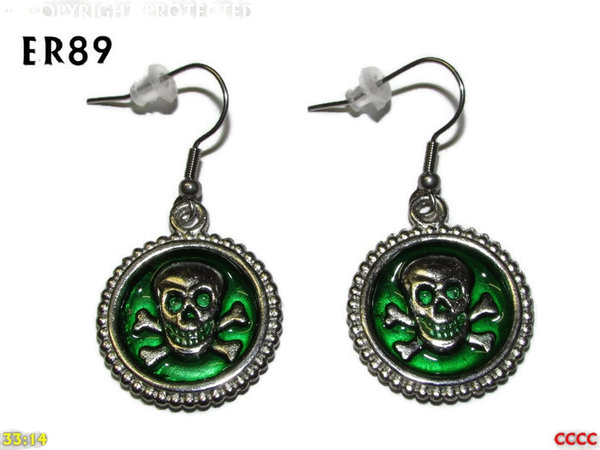 Earrings, Skull & Crossbones Green ER89