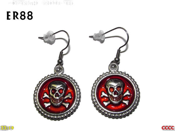 Earrings, Skull & Crossbones Red ER88