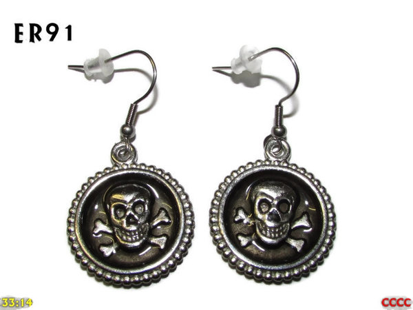 Earrings, Skull & Crossbones charcoal graphite ER91