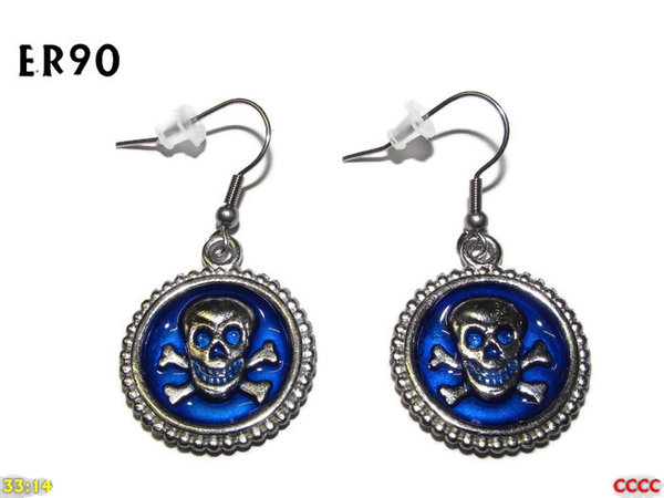 Earrings, Skull & Crossbones Blue