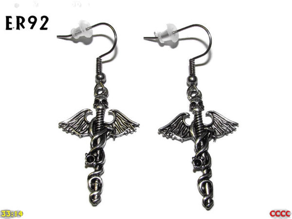 Earrings, Caduceus ER92