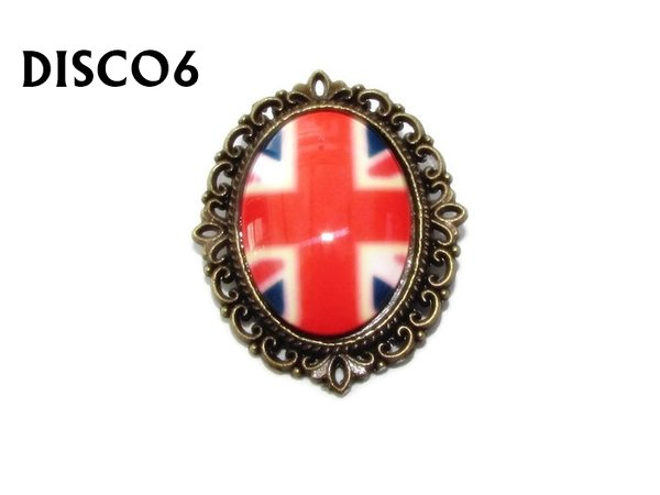 Badge, DISCO6, Discontinued, Union Jack Oval Bronze