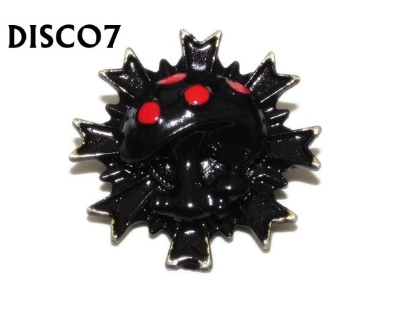 Badge, DISCO7, Discontinued, Black Red Toadstool