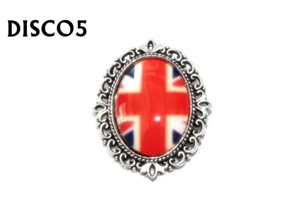Badge, DISCO5, Discontinued, Union Jack Oval Silver