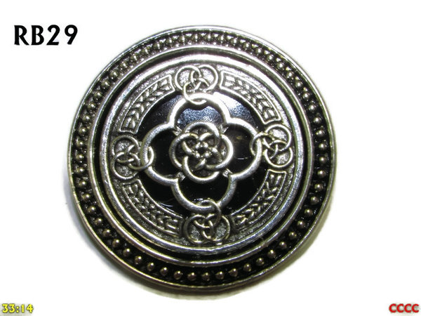 Badge / Brooch, RB29, Celtic Knot, silver setting with black background (39mm dia.)