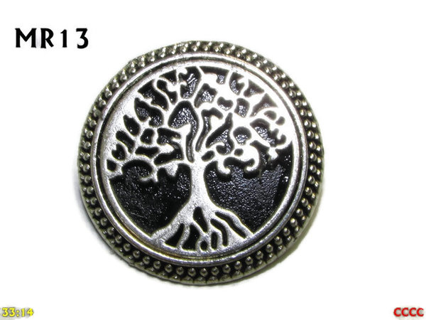Badge / Brooch, MR13, Tree of Life on Black background, Round Silver setting (32mm dia.)