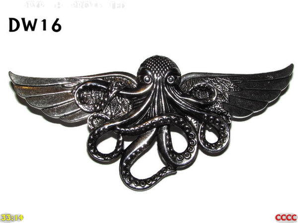 Badge / Brooch, DW16, Silver Kraken on Silver Wings (105mm wide approx)