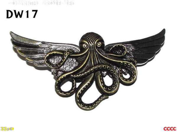 Badge / Brooch, DW17,Bronze  Kraken on Silver Wings (105mm wide approx)