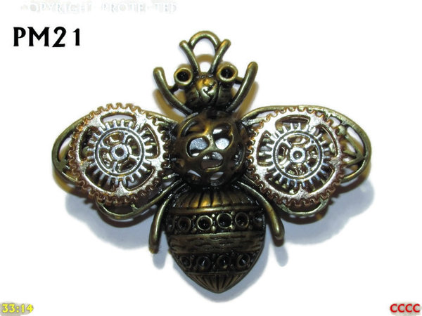 "Badge / Brooch, PM21, ""Clockwork"" Bronze Bee - Gold & Silver Gears (58x48mm)"