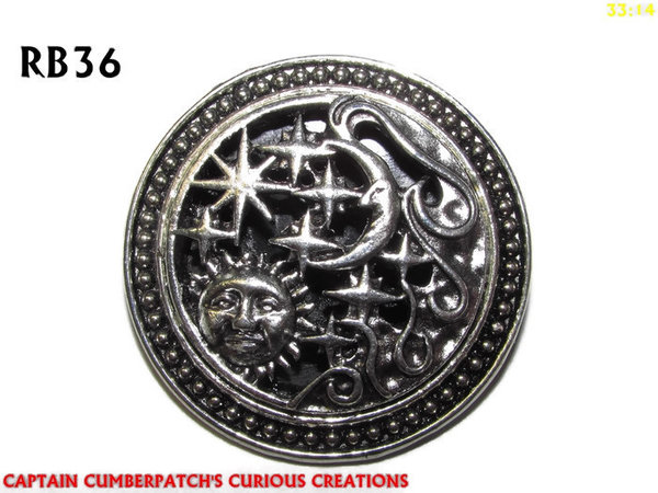 Badge / Brooch, RB36,  Sun & Moon, silver setting (39mm dia.)