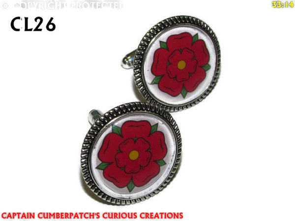 Cufflinks, House of Lancaster, Red Rose, Silver back