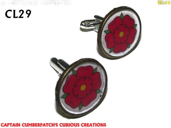 Cufflinks, House of Lancaster, Red Rose, Bronze back