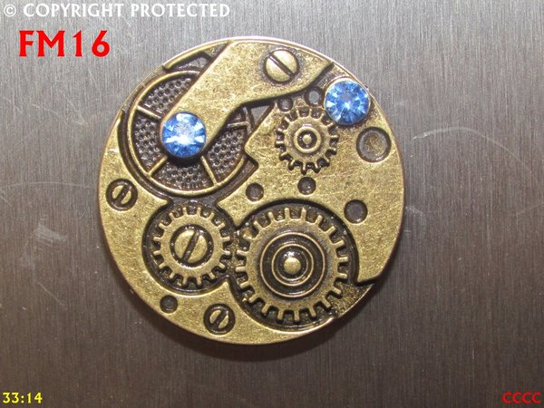 Fridge Magnet, Clock Workings with crystals bronze