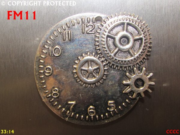 Fridge Magnet, Clock silver