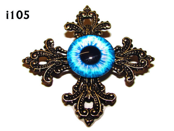 Badge, Eye i#105  Gothic Cross (55x55mm)