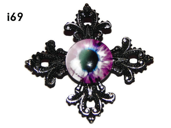 Badge, Eye i#69  Gothic Cross (55x55mm)