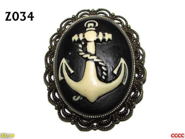 Badge / Brooch ZO34, Oval Cameo, Anchor, Bronze setting (40x50mm)