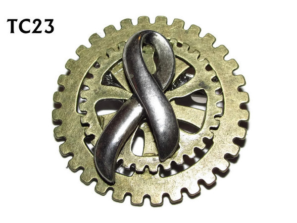 Badge / Brooch, TC23, Steampunk Pride, Stacked Gears (40mm dia approx)