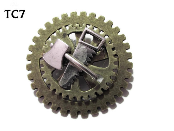 Badge / Brooch, TC07 ,Lumberjack, Stacked Gears (40mm dia approx)
