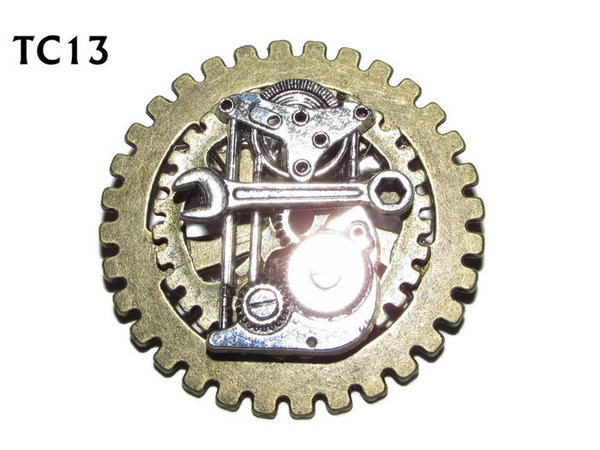 Badge / Brooch, TC13, Engineers, Stacked Gears (40mm dia approx)