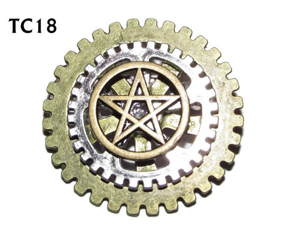 Badge / Brooch, TC18, Pentgram, Stacked Gears (40mm dia approx)