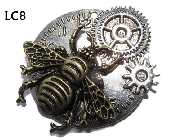 Badge/ Brooch, LC08,  Silver clock backing with bronze bee, (45x45mm)