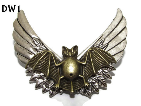 Badge / Brooch, DW01, Bronze Bat on SilverWings (65mm wide approx)