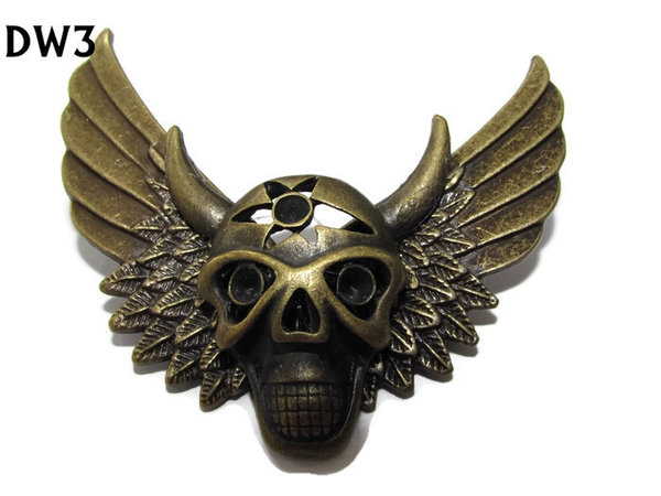 Badge / Brooch, DW03, Devil Head on Wings (65mm wide approx)