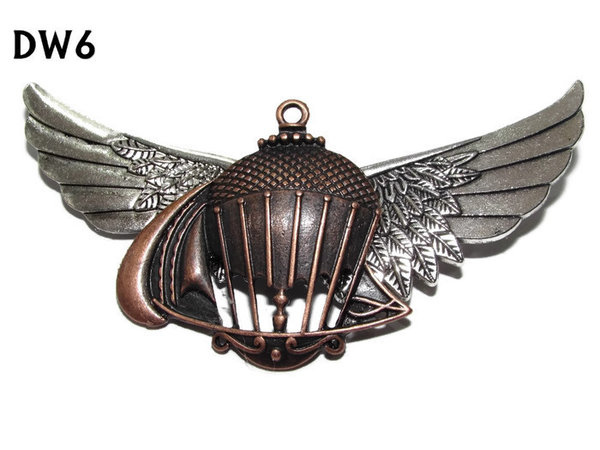 Badge / Brooch, DW06, Balloon on silver Wings (105mm wide approx)