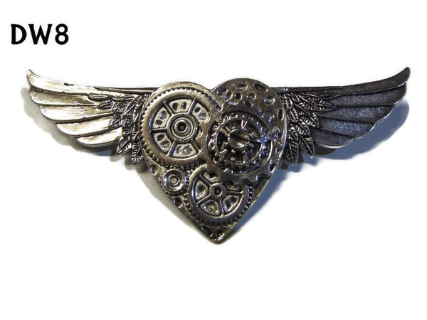 Badge / Brooch, DW08, Silver Heart on Silver Wings (105mm wide approx)