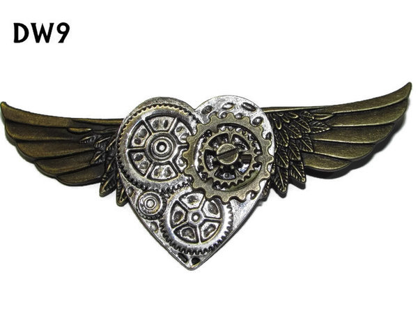 Badge / Brooch, DW09, Silver Heart on bronze Wings (105mm wide approx)