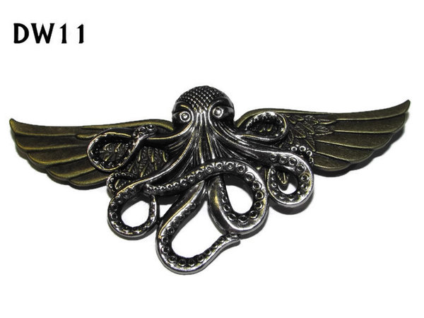 Badge / Brooch, DW11, silver Kraken on bronze Wings (105mm wide approx)
