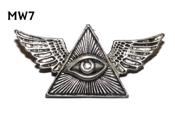 Badge, MW07, Eye of Providence, silver wings (45mm wide)