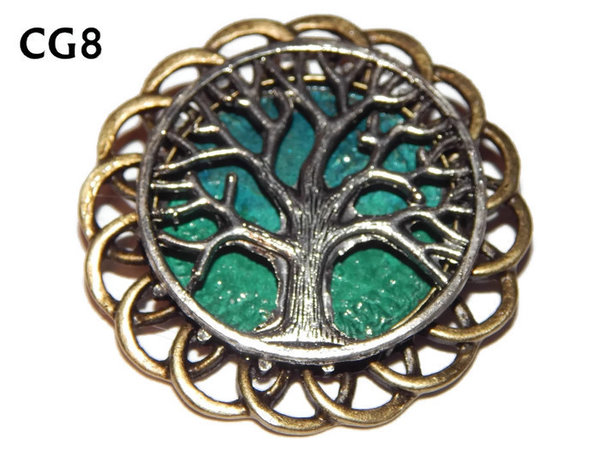 Badge / Brooch, CG08, Tree, Green/Blue, Round Curly Edge, (44mm dia)