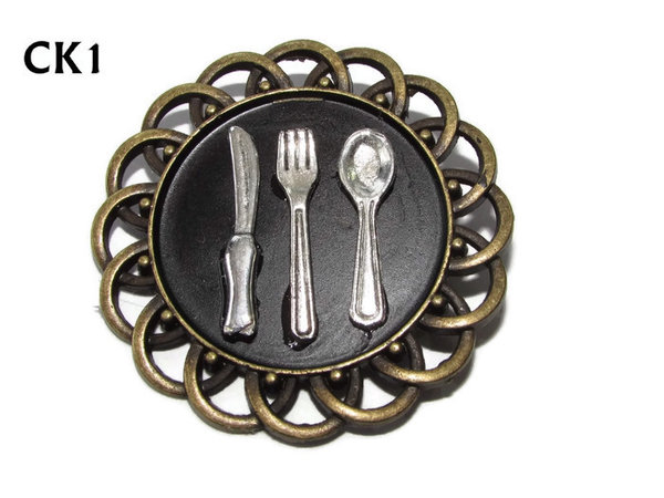 Badge / Brooch, CK01, Cutlery, Black, Round Curly Edge, (44mm dia)