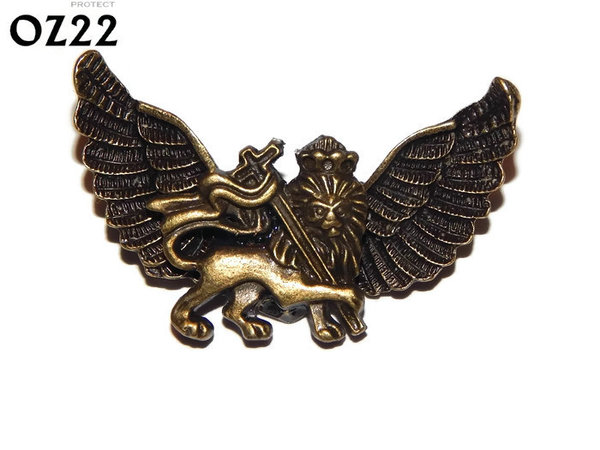 Badge / Brooch, OZ22, Lion bronze, Bronze Owl Wing back, (52mm wide approx)
