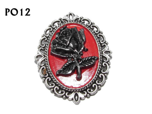Badge / Brooch, PO12, Rose, Oval Backing, (30x37mm approx)