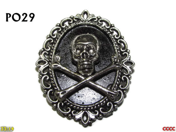 Badge / Brooch, PO29, Skull & Crossbones, Oval Backing, (30x37mm approx)