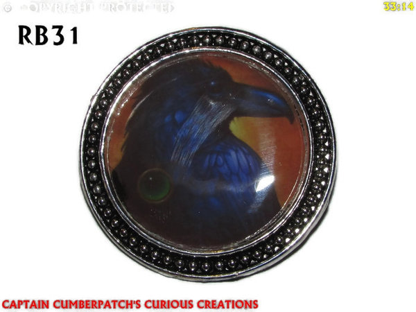 Badge / Brooch, RB31, Raven Graphic - Orange, bronze setting(39mm dia.)