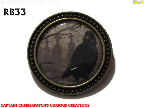 Badge / Brooch, RB33, Raven Graphic - Graves, bronze setting (39mm dia.)