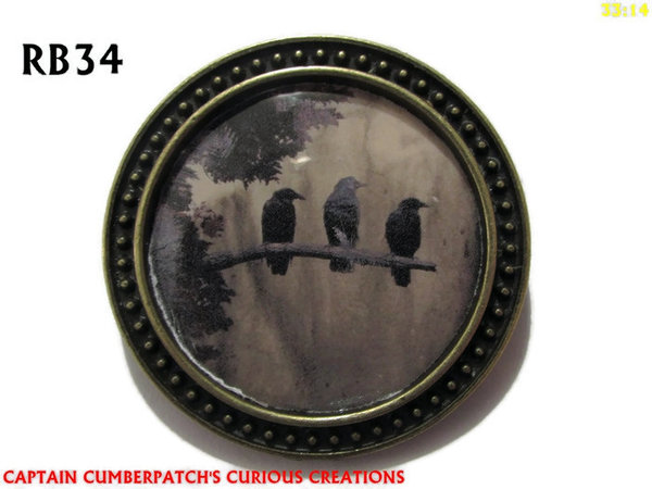 Badge / Brooch, RB34, Raven Graphic  Branch, bronze setting  (39mm dia.)