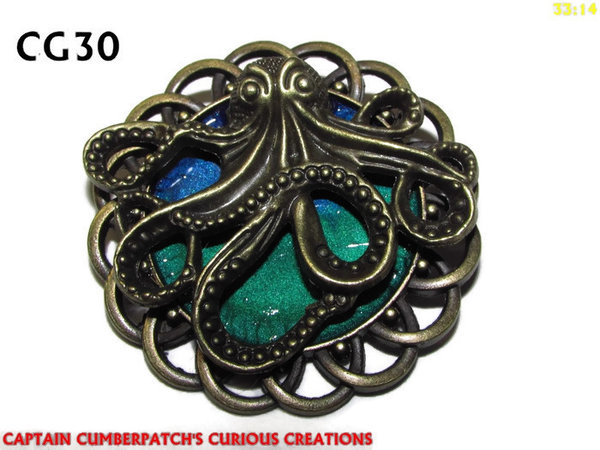 Badge / Brooch, CG30, Kraken Bronze (lg), Green/Blue, Round Curly Edge, (44mm dia)