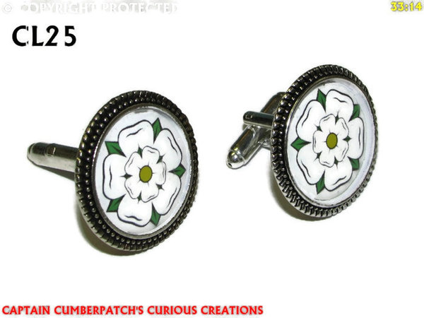 Cufflinks, House of York, White Rose, Silver back