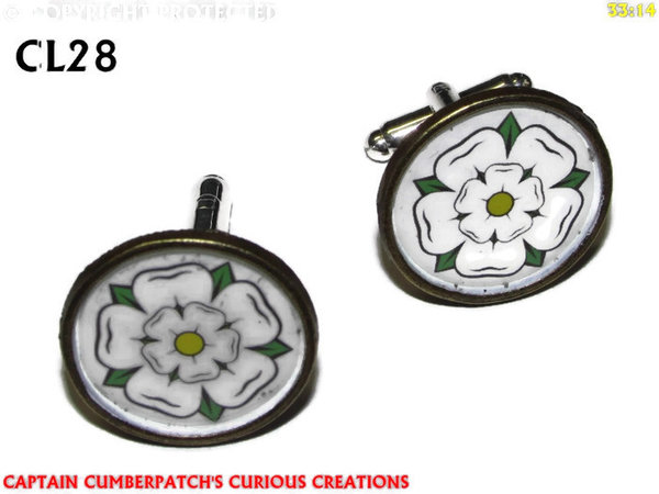 Cufflinks, House of York, White Rose, Bronze back