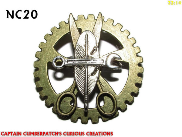 Badge / Brooch, NC20, Elements of Steampunk, Gear backing, (40mm dia.)