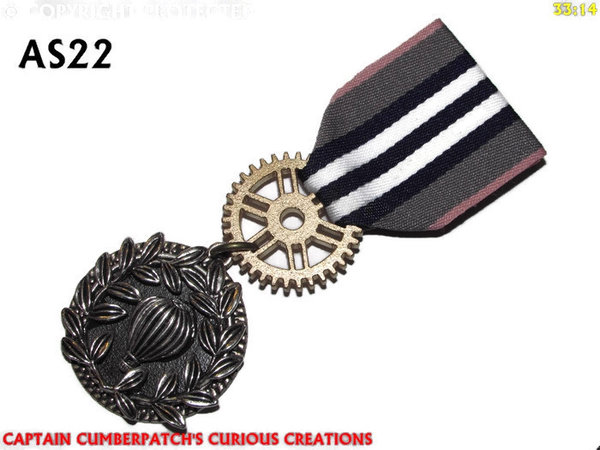 Medal, MAS22, Balloon Wreath, grey blue