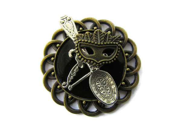Badge / Brooch, CK73, Steampunk Elements, Black, Round Curly Edge, (44mm dia)